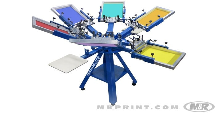 M r kruzer manual screen printing press rc screen shop for Screen printing machine for t shirts for sale